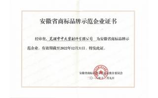 安徽省商标品牌示范企业证书